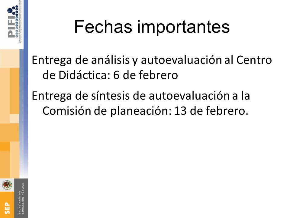 Fechas importantes Entrega de análisis y autoevaluación al Centro de Didáctica: 6 de febrero Entrega de síntesis de autoevaluación a la Comisión de pl