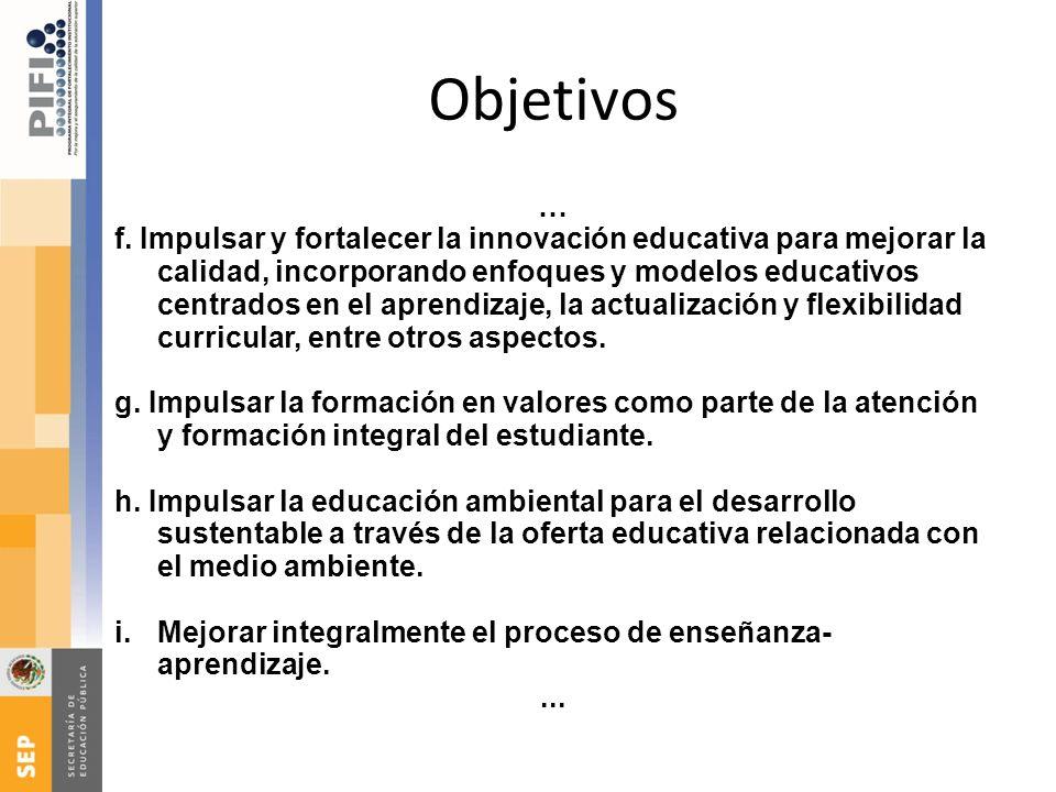 Objetivos … f. Impulsar y fortalecer la innovación educativa para mejorar la calidad, incorporando enfoques y modelos educativos centrados en el apren