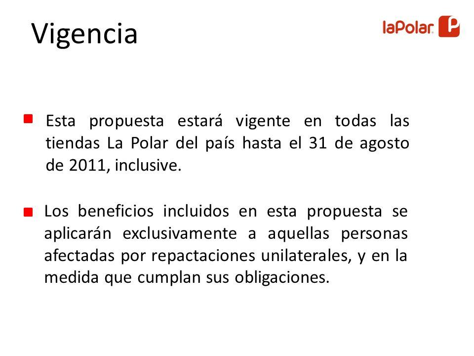 Esta propuesta estará vigente en todas las tiendas La Polar del país hasta el 31 de agosto de 2011, inclusive.