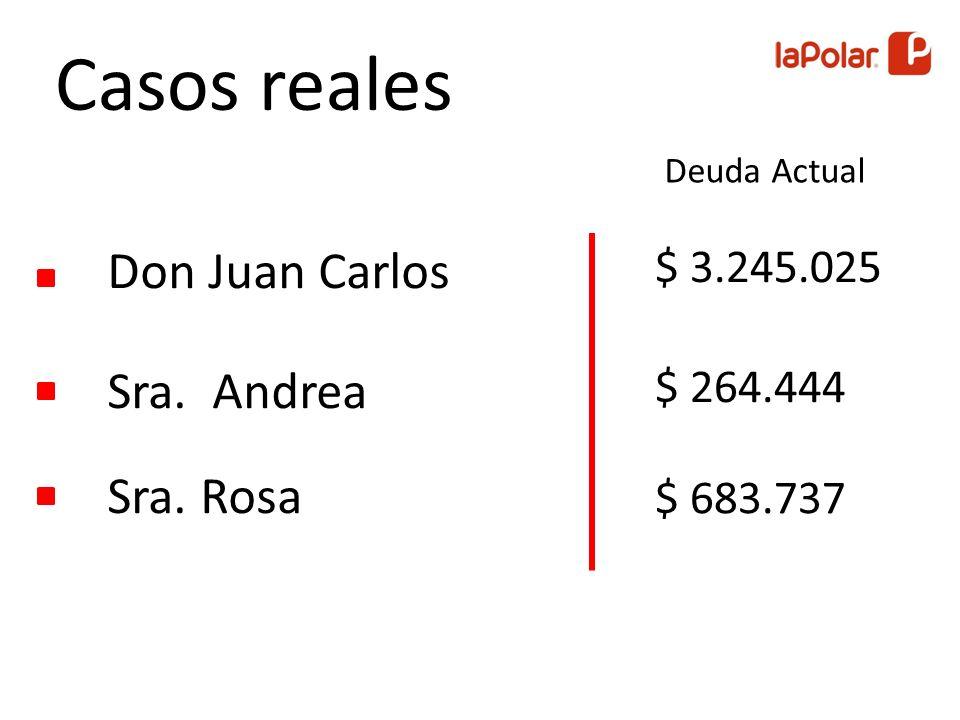 Sra. Rosa Sra. Andrea Don Juan Carlos Casos reales Deuda Actual $ 683.737 $ 264.444 $ 3.245.025