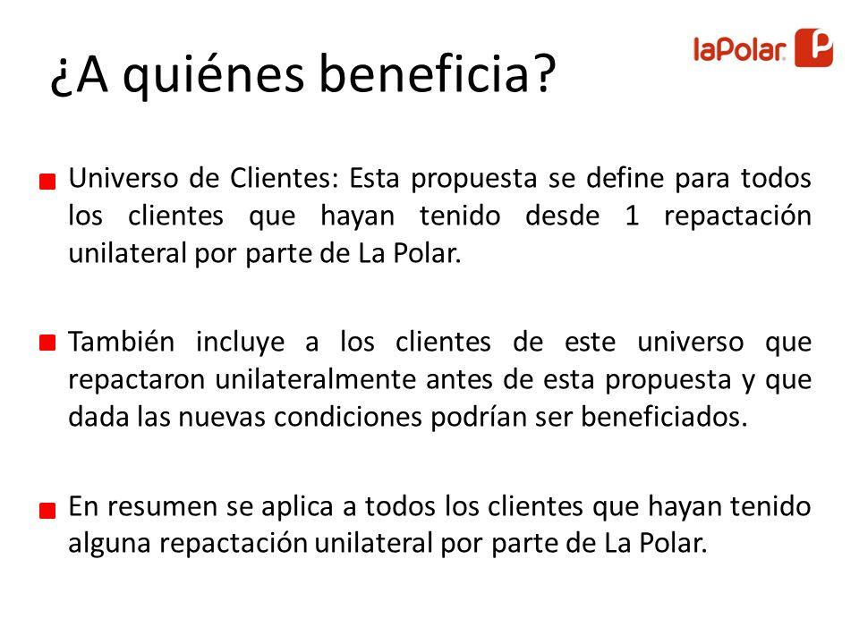 Universo de Clientes: Esta propuesta se define para todos los clientes que hayan tenido desde 1 repactación unilateral por parte de La Polar.