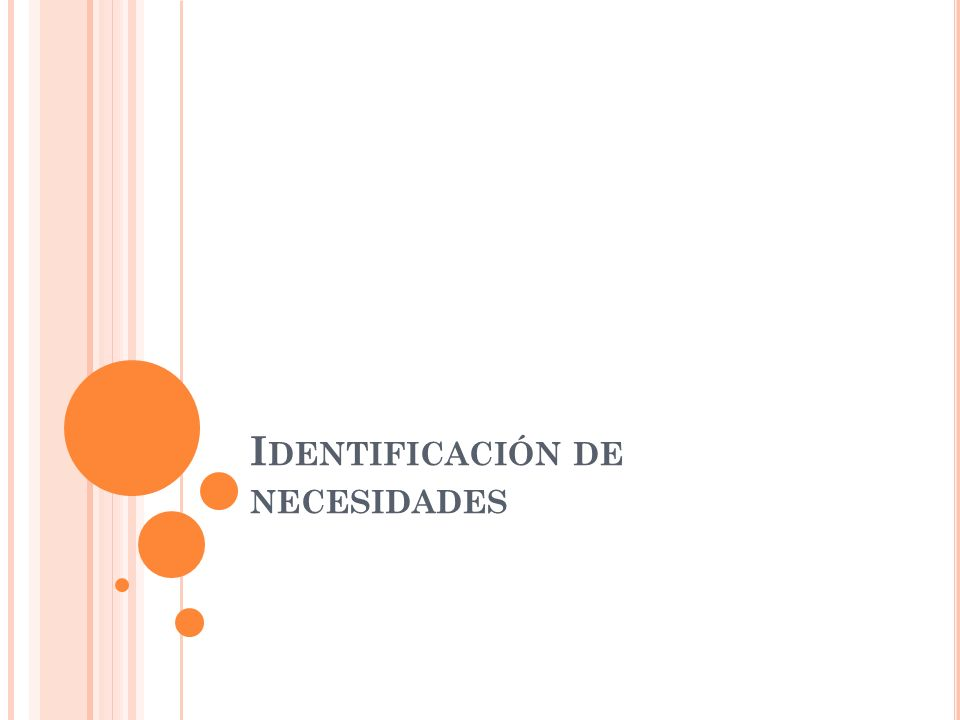 I DENTIFICACIÓN DE NECESIDADES