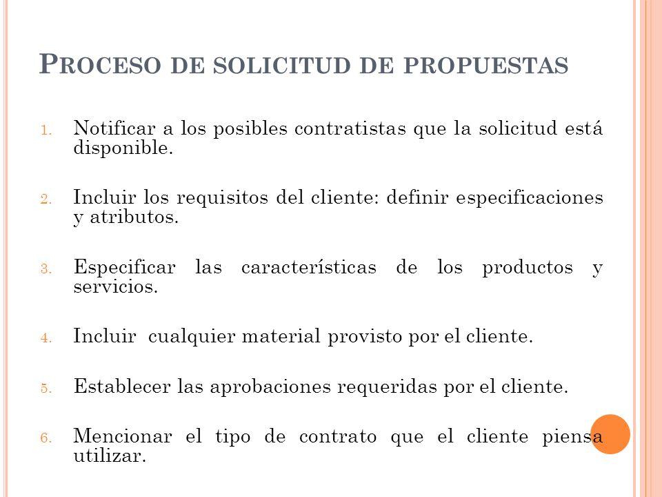 P ROCESO DE SOLICITUD DE PROPUESTAS 1. Notificar a los posibles contratistas que la solicitud está disponible. 2. Incluir los requisitos del cliente: