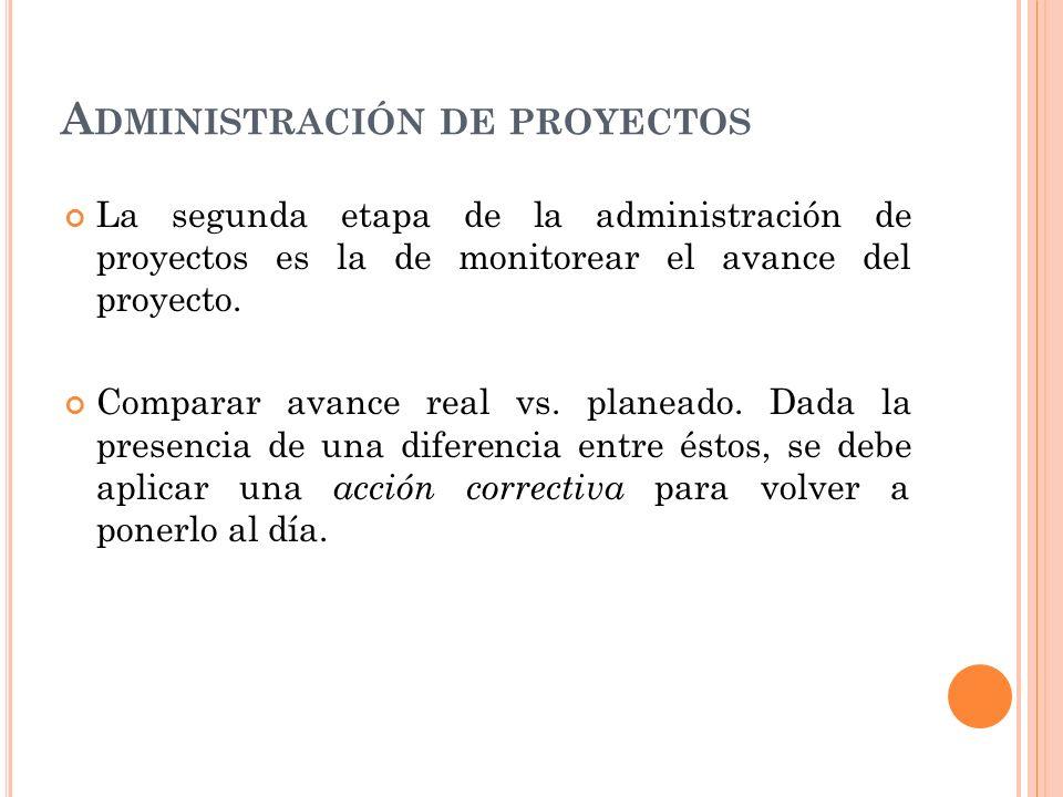 A DMINISTRACIÓN DE PROYECTOS La segunda etapa de la administración de proyectos es la de monitorear el avance del proyecto. Comparar avance real vs. p