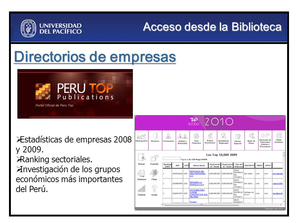 Directorios de empresas Estadísticas de empresas 2008 y 2009. Ranking sectoriales. Investigación de los grupos económicos más importantes del Perú. Ac