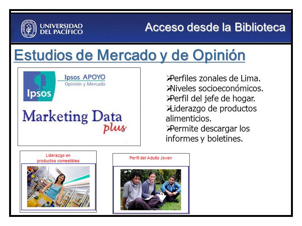 Estudios de Mercado y de Opinión Perfiles zonales de Lima. Niveles socioeconómicos. Perfil del jefe de hogar. Liderazgo de productos alimenticios. Per