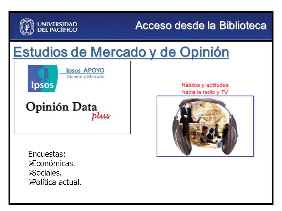 Estudios de Mercado y de Opinión Encuestas: Económicas. Sociales. Política actual. Acceso desde la Biblioteca