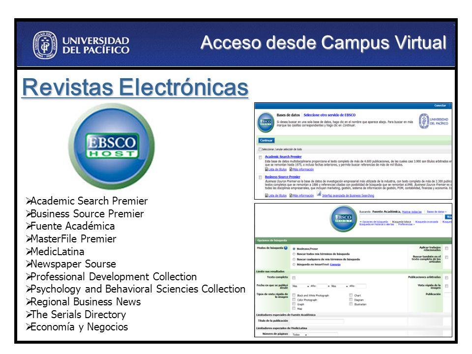 Acceso desde Campus Virtual Revistas Electrónicas Academic Search Premier Business Source Premier Fuente Académica MasterFile Premier MedicLatina News