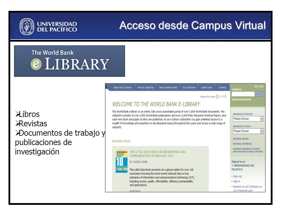 Libros Revistas Documentos de trabajo y publicaciones de investigación Acceso desde Campus Virtual