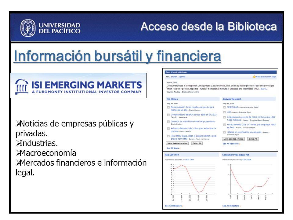 Información bursátil y financiera Noticias de empresas públicas y privadas. Industrias. Macroeconomía Mercados financieros e información legal. Acceso