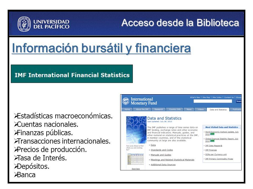 Información bursátil y financiera Estadísticas macroeconómicas. Cuentas nacionales. Finanzas públicas. Transacciones internacionales. Precios de produ