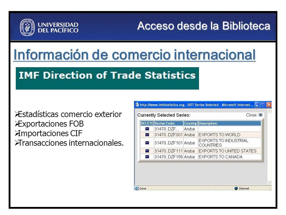Información de comercio internacional Estadísticas comercio exterior Exportaciones FOB Importaciones CIF Transacciones internacionales. Acceso desde l