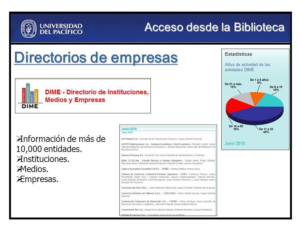 Información de más de 10,000 entidades. Instituciones. Medios. Empresas. Directorios de empresas Acceso desde la Biblioteca
