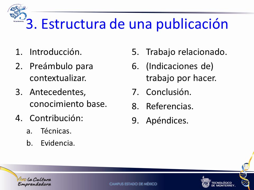 3. Estructura de una publicación 1.Introducción. 2.Preámbulo para contextualizar. 3.Antecedentes, conocimiento base. 4.Contribución: a.Técnicas. b.Evi