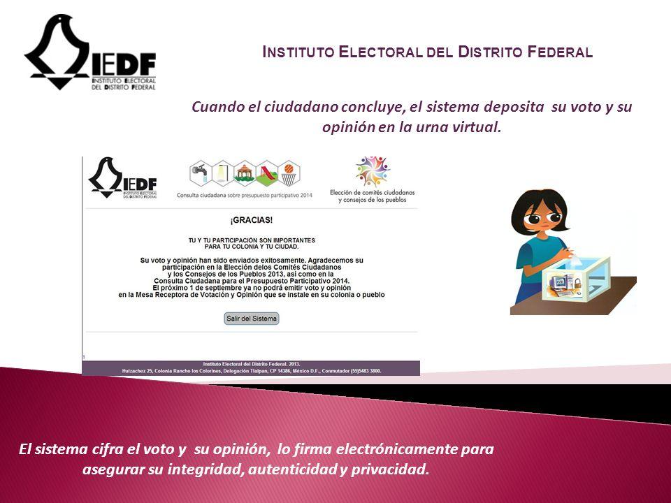 El sistema cifra el voto y su opinión, lo firma electrónicamente para asegurar su integridad, autenticidad y privacidad.