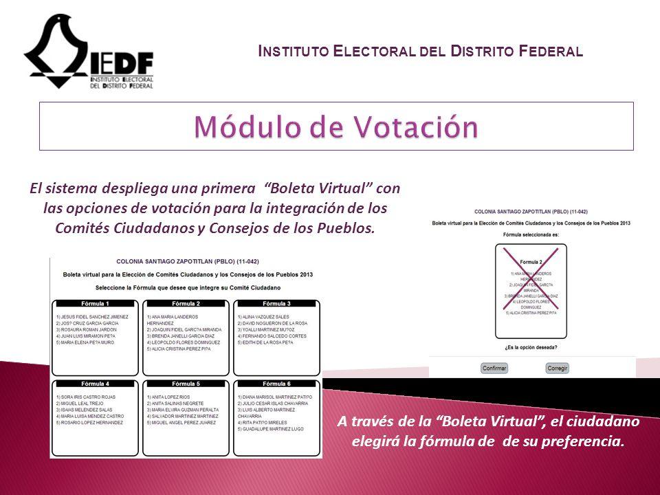El sistema despliega una primera Boleta Virtual con las opciones de votación para la integración de los Comités Ciudadanos y Consejos de los Pueblos.
