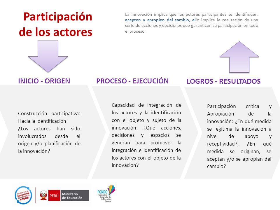 Participación de los actores La innovación implica que los actores participantes se identifiquen, acepten y apropien del cambio, ello implica la reali