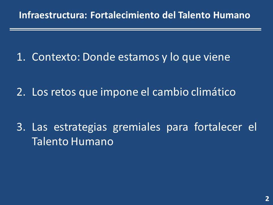 Infraestructura: Fortalecimiento del Talento Humano 2 1.Contexto: Donde estamos y lo que viene 2.Los retos que impone el cambio climático 3.Las estrategias gremiales para fortalecer el Talento Humano