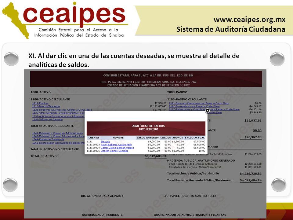XI. Al dar clic en una de las cuentas deseadas, se muestra el detalle de analíticas de saldos.