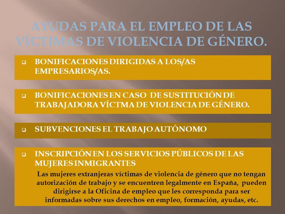 BONIFICACIONES DIRIGIDAS A LOS/AS EMPRESARIOS/AS. AYUDAS PARA EL EMPLEO DE LAS VÍCTIMAS DE VIOLENCIA DE GÉNERO. BONIFICACIONES EN CASO DE SUSTITUCIÓN