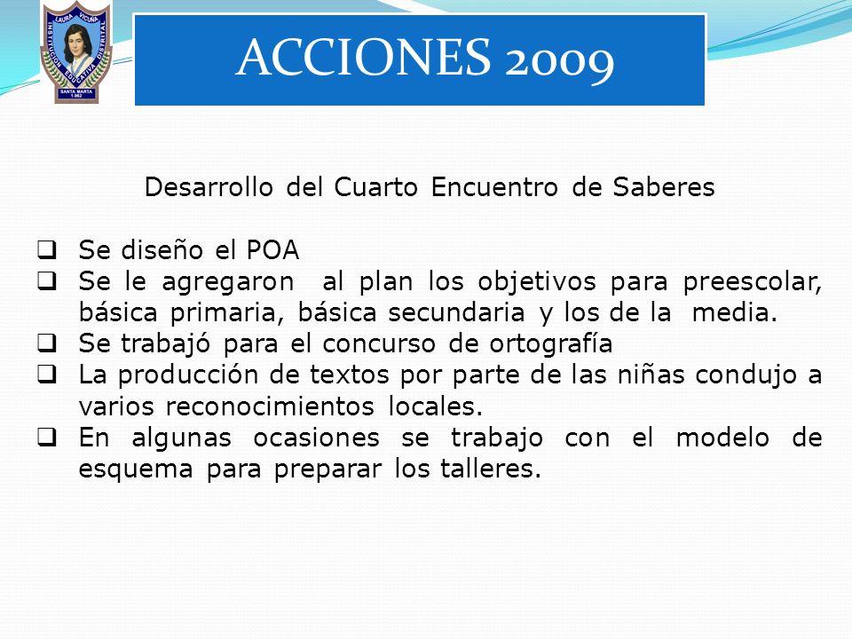 ACCIONES 2008 Trabajo alrededor de lograr la Certificación de Calidad, acompañados del modelo EFQM. El Plan de área se adecuó de acuerdo a unas direct