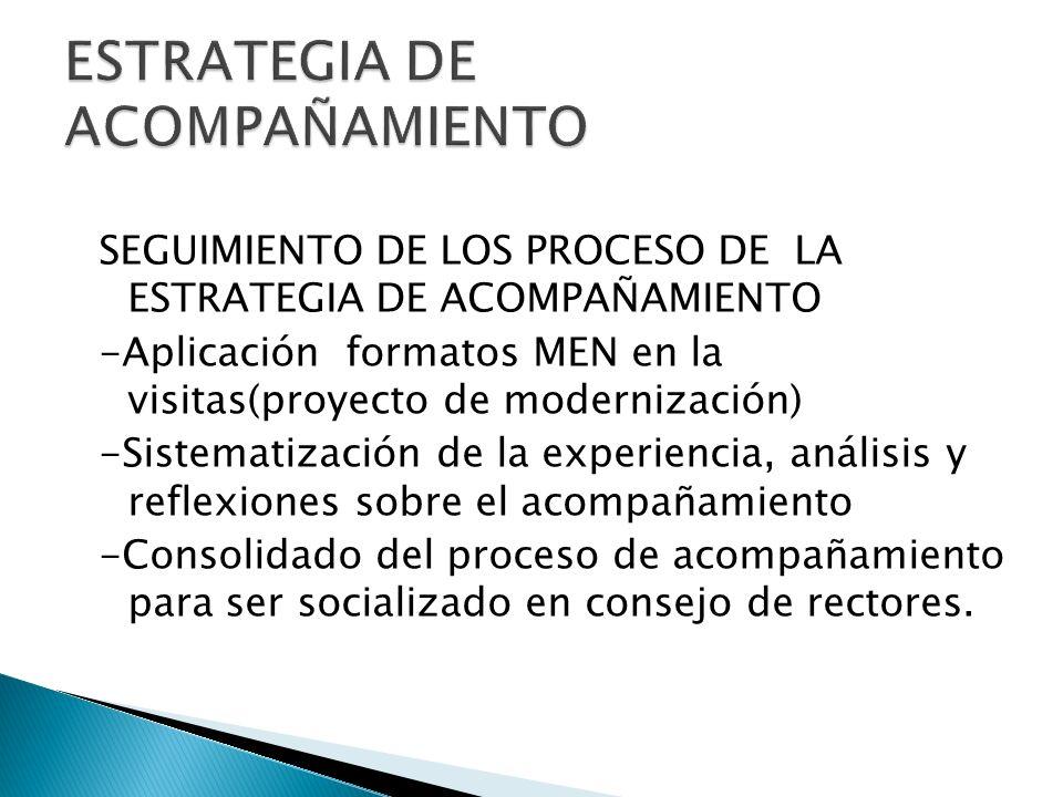 SEGUIMIENTO DE LOS PROCESO DE LA ESTRATEGIA DE ACOMPAÑAMIENTO -Aplicación formatos MEN en la visitas(proyecto de modernización) -Sistematización de la