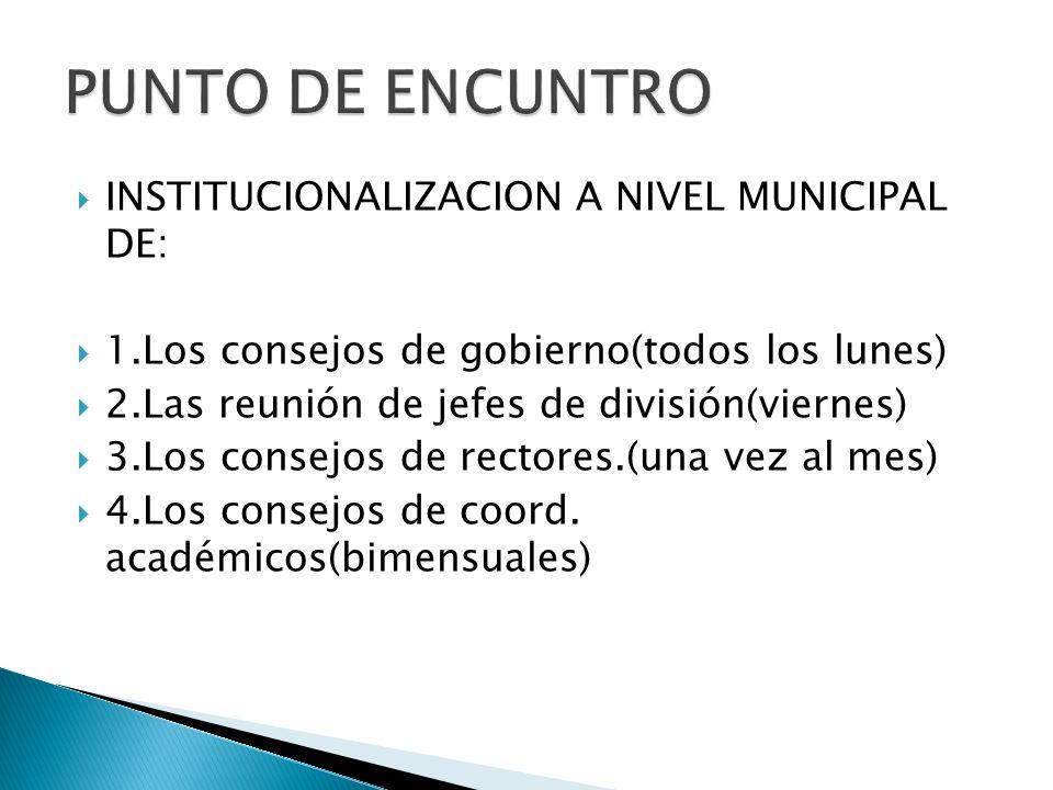 INSTITUCIONALIZACION A NIVEL MUNICIPAL DE: 1.Los consejos de gobierno(todos los lunes) 2.Las reunión de jefes de división(viernes) 3.Los consejos de rectores.(una vez al mes) 4.Los consejos de coord.