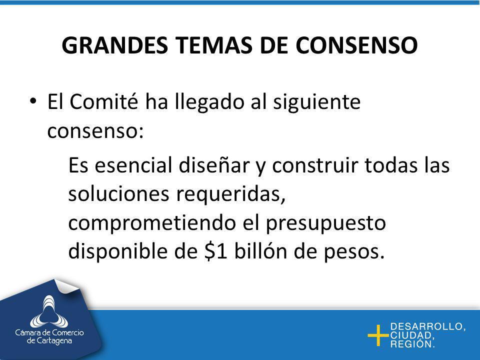 GRANDES TEMAS DE CONSENSO El Comité ha llegado al siguiente consenso: Es esencial diseñar y construir todas las soluciones requeridas, comprometiendo el presupuesto disponible de $1 billón de pesos.