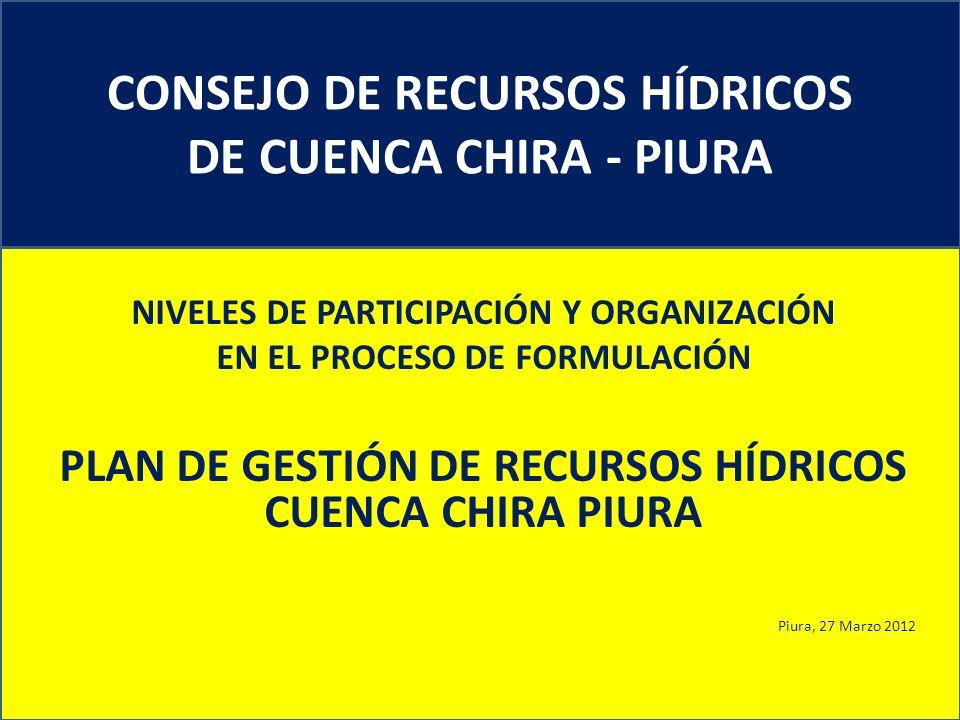 CONSEJO DE RECURSOS HÍDRICOS DE CUENCA CHIRA - PIURA NIVELES DE PARTICIPACIÓN Y ORGANIZACIÓN EN EL PROCESO DE FORMULACIÓN PLAN DE GESTIÓN DE RECURSOS