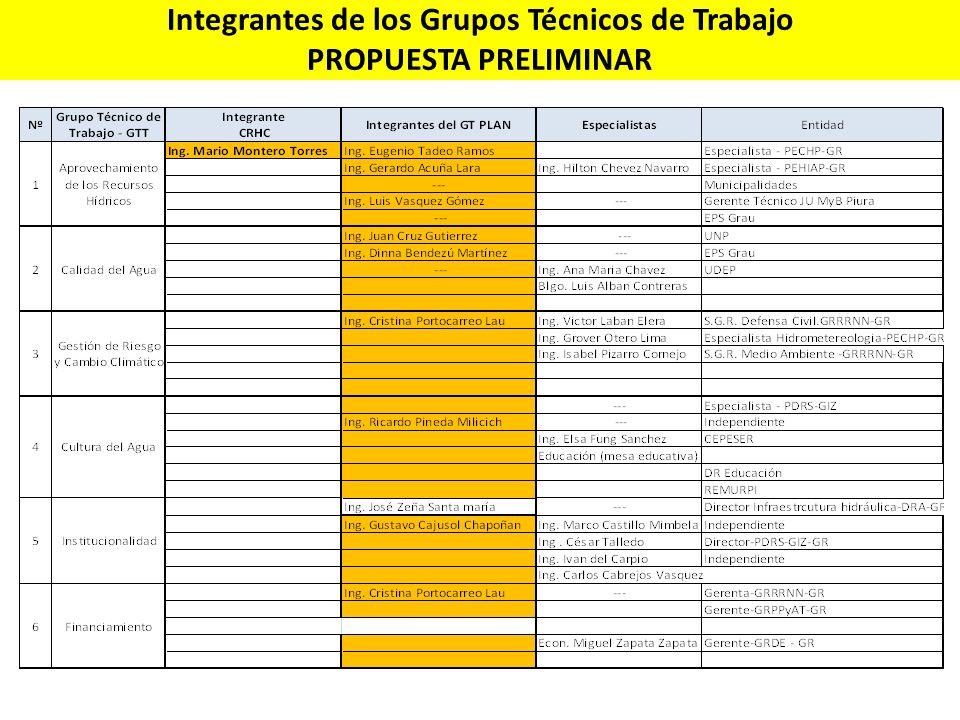 Integrantes de los Grupos Técnicos de Trabajo PROPUESTA PRELIMINAR