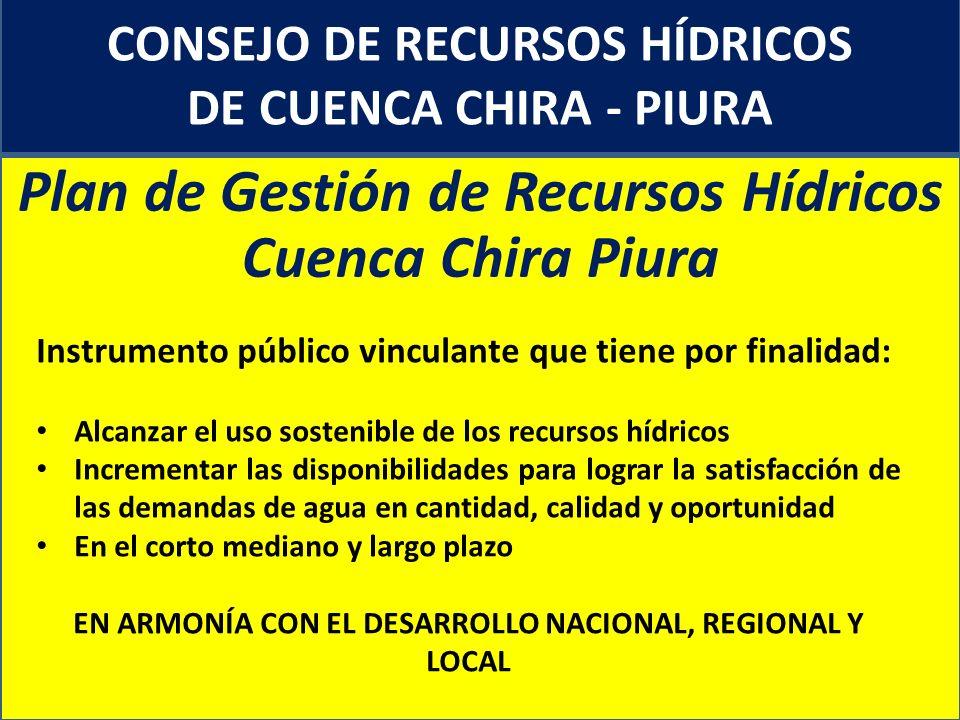 CONSEJO DE RECURSOS HÍDRICOS DE CUENCA CHIRA - PIURA Plan de Gestión de Recursos Hídricos Cuenca Chira Piura Instrumento público vinculante que tiene