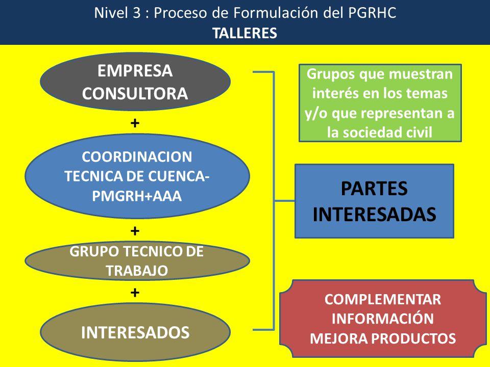 Nivel 3 : Proceso de Formulación del PGRHC TALLERES EMPRESA CONSULTORA COORDINACION TECNICA DE CUENCA- PMGRH+AAA PARTES INTERESADAS GRUPO TECNICO DE T