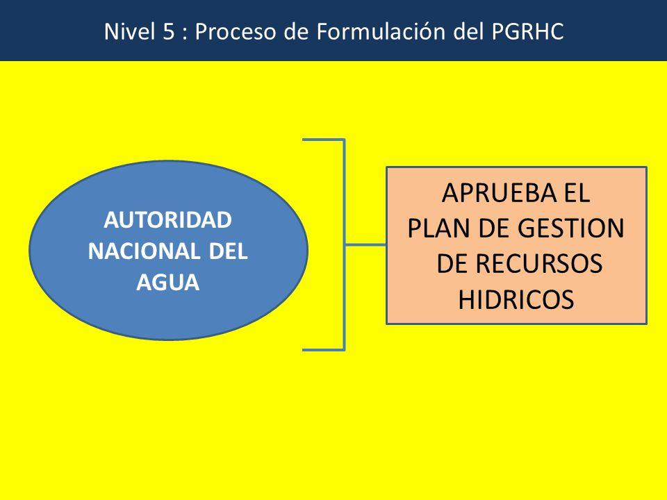Nivel 5 : Proceso de Formulación del PGRHC AUTORIDAD NACIONAL DEL AGUA APRUEBA EL PLAN DE GESTION DE RECURSOS HIDRICOS