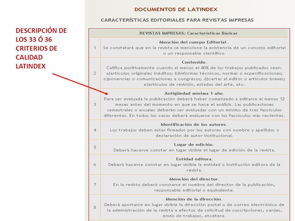 DESCRIPCIÓN DE LOS 33 Ó 36 CRITERIOS DE CALIDAD LATINDEX