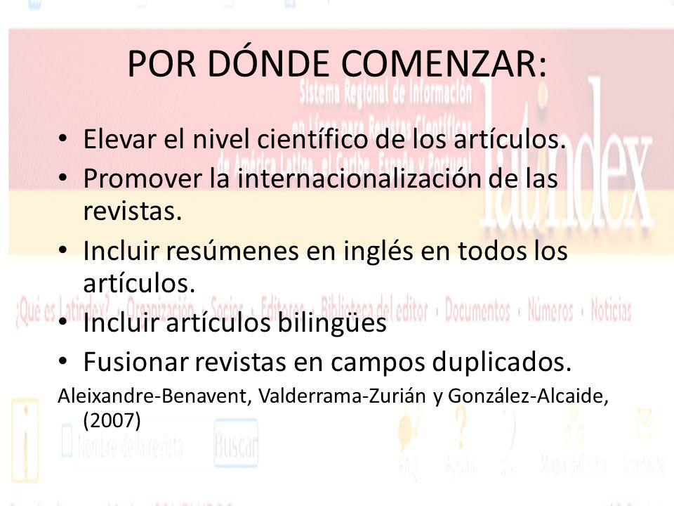 POR DÓNDE COMENZAR: Elevar el nivel científico de los artículos. Promover la internacionalización de las revistas. Incluir resúmenes en inglés en todo