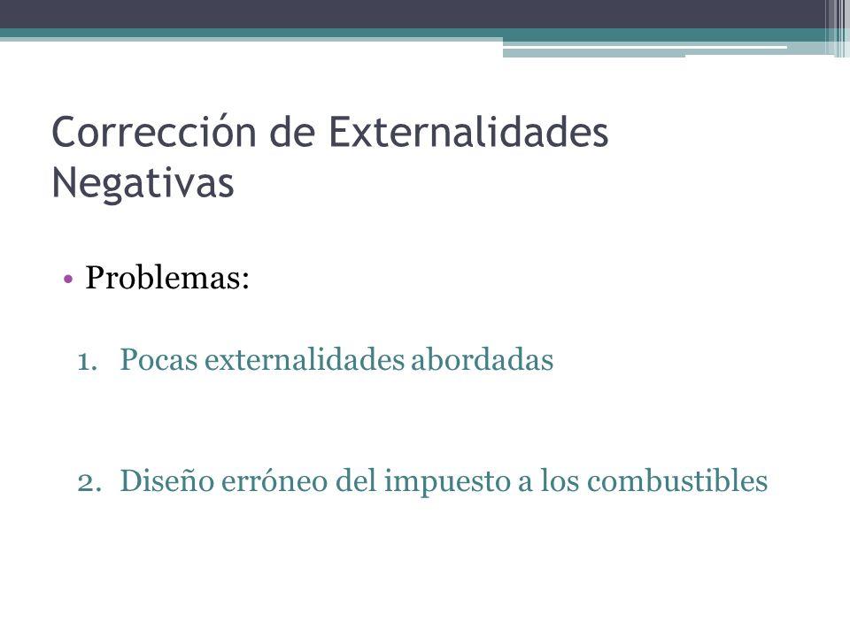 Corrección de Externalidades Negativas Problemas: 1.Pocas externalidades abordadas 2.Diseño erróneo del impuesto a los combustibles