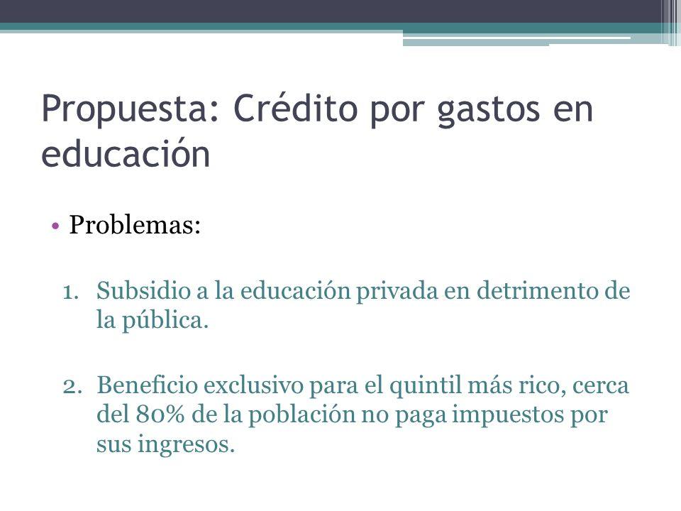 Propuesta: Crédito por gastos en educación Problemas: 1.Subsidio a la educación privada en detrimento de la pública. 2.Beneficio exclusivo para el qui