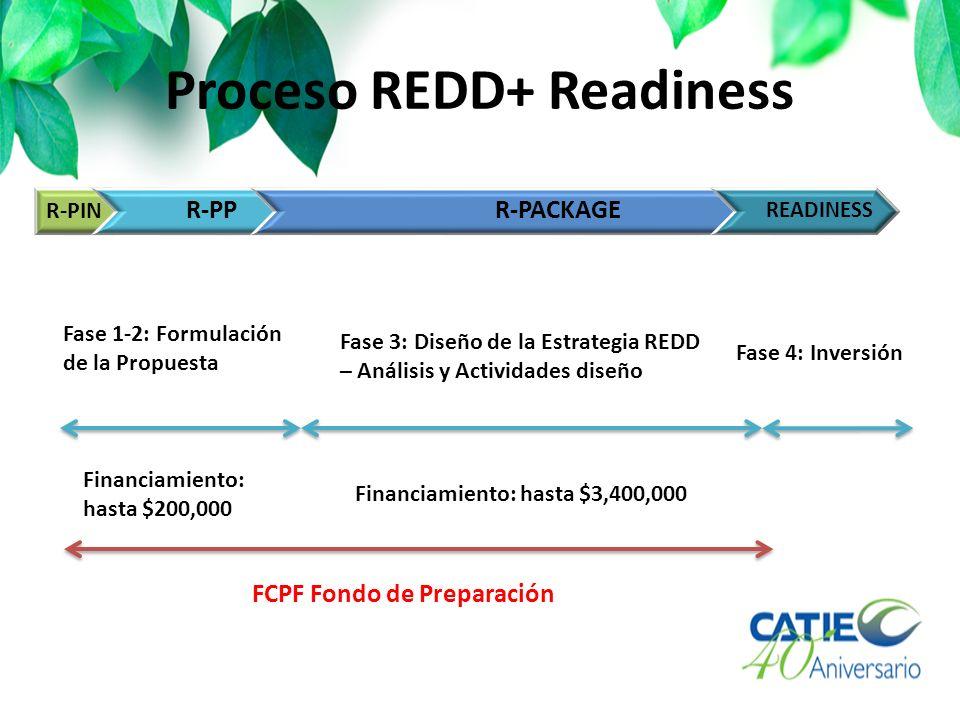 Actividades Readiness del FCPF Limitados a la planificación inicial y al diseño del sistema Dos Fases: 1.Formulación: Readiness Preparación Idea Note (R-PIN) Readiness Preparación Proposal (R-PP) 2.Preparación: Paquete Readiness (R-Package)