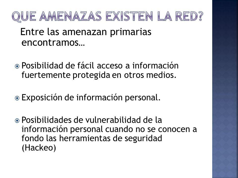 Entre las amenazan primarias encontramos … Posibilidad de fácil acceso a información fuertemente protegida en otros medios. Exposición de información
