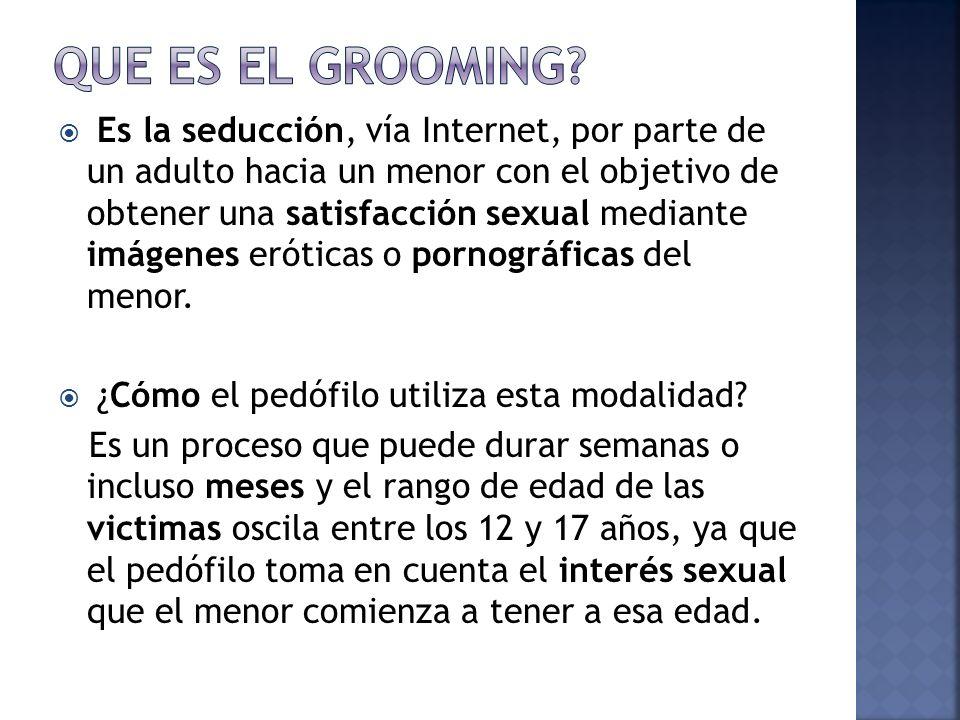 Es la seducción, vía Internet, por parte de un adulto hacia un menor con el objetivo de obtener una satisfacción sexual mediante imágenes eróticas o pornográficas del menor.