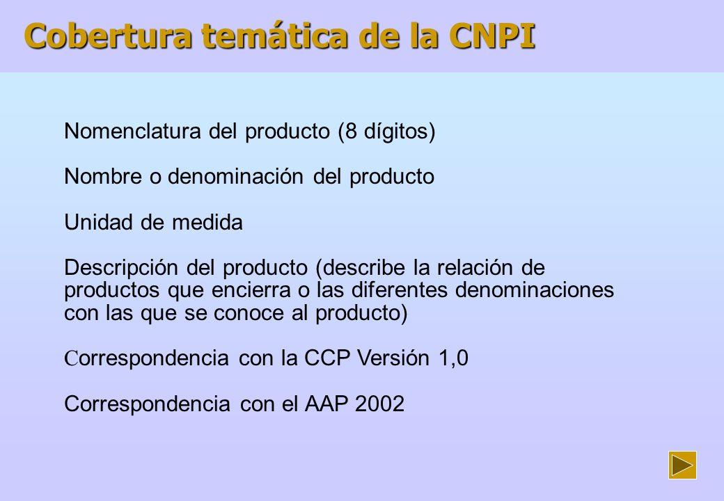 Documentos usados como consulta para la elaboración de la CNPI Correspondencia de Nomenclaturas Internacionales de Actividades Económicas y Productos - INEI - Diciembre del 2002 Clasificación Central de Productos Versión 1,0- NNUU Clasificación Central de Productos adaptada para Colombia - DANE Clasificación Industrial Internacional Uniforme (CIIU) de todas las actividades económicas.