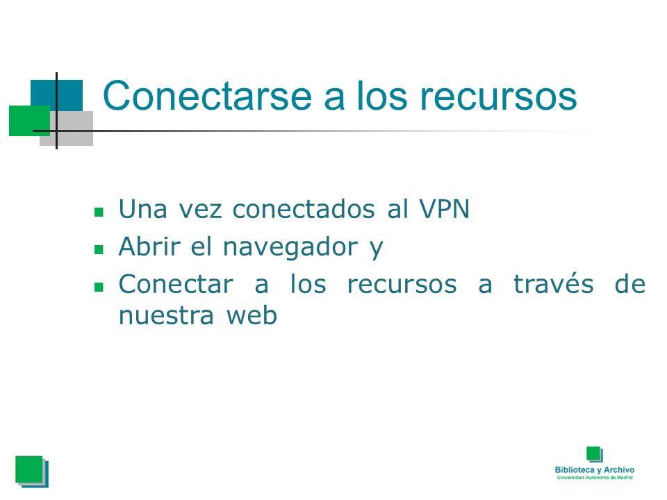 Conectarse a los recursos Una vez conectados al VPN Abrir el navegador y Conectar a los recursos a través de nuestra web
