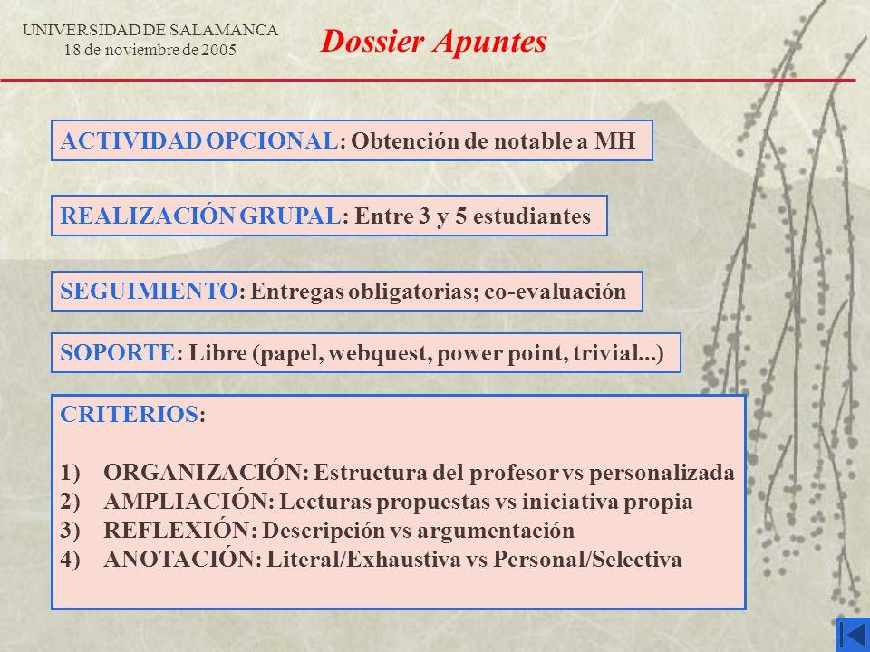 UNIVERSIDAD DE SALAMANCA 18 de noviembre de 2005 Dossier Apuntes ACTIVIDAD OPCIONAL: Obtención de notable a MH REALIZACIÓN GRUPAL: Entre 3 y 5 estudia