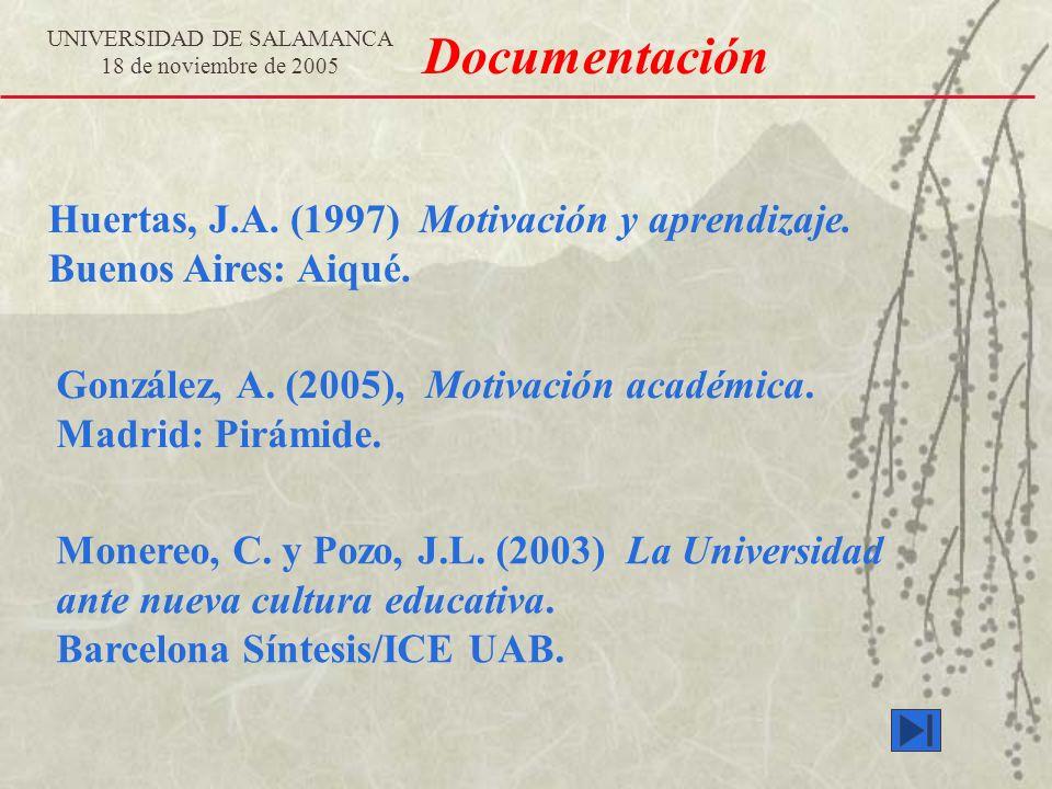 UNIVERSIDAD DE SALAMANCA 18 de noviembre de 2005 Documentación Monereo, C. y Pozo, J.L. (2003) La Universidad ante nueva cultura educativa. Barcelona