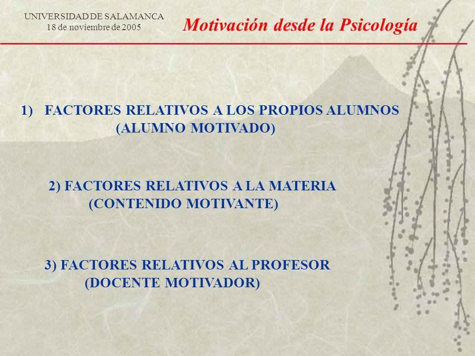 UNIVERSIDAD DE SALAMANCA 18 de noviembre de 2005 Motivación desde la Psicología 1)FACTORES RELATIVOS A LOS PROPIOS ALUMNOS (ALUMNO MOTIVADO) 2) FACTOR
