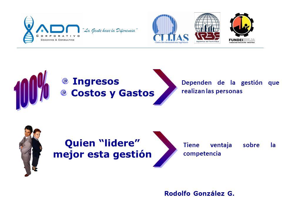 La Gente hace la Diferencia Ingresos Costos y Gastos Dependen de la gestión que realizan las personas Quien lidere mejor esta gestión Tiene ventaja sobre la competencia Rodolfo González G.