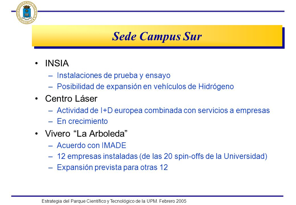 Estrategia del Parque Científico y Tecnológico de la UPM. Febrero 2005 Sede Campus Sur INSIA –Instalaciones de prueba y ensayo –Posibilidad de expansi