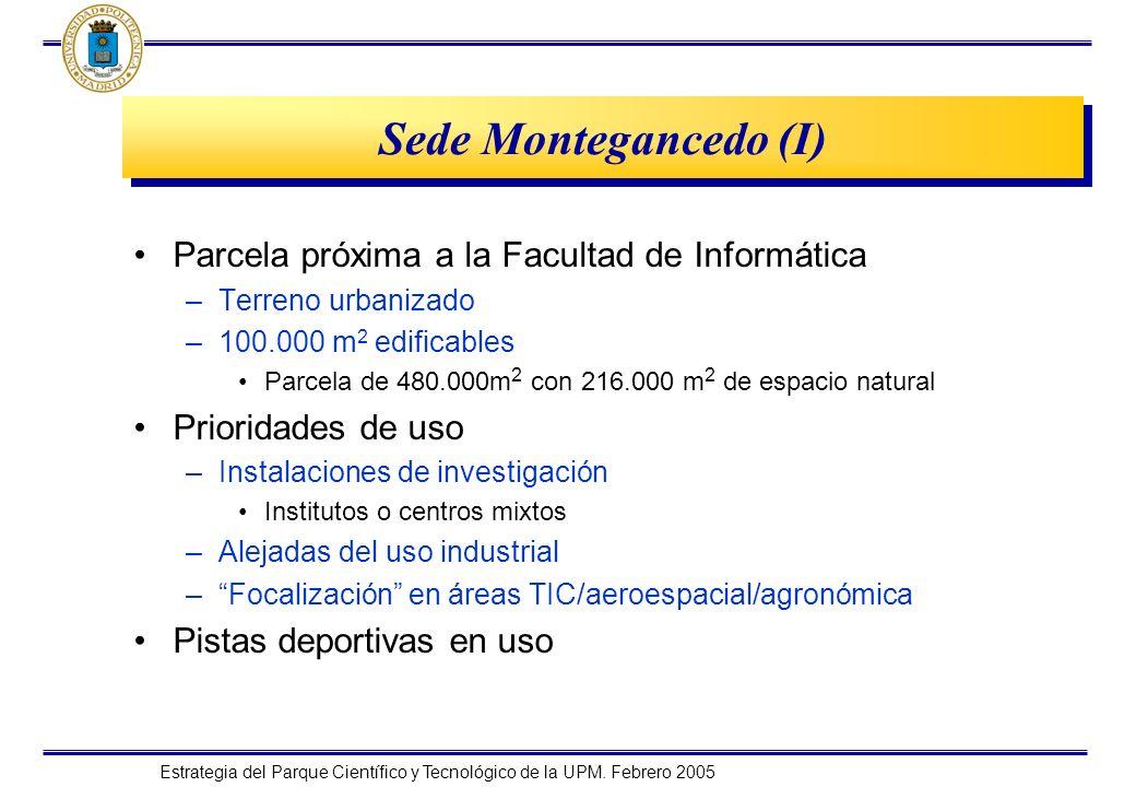 Estrategia del Parque Científico y Tecnológico de la UPM. Febrero 2005 Sede Montegancedo (I) Parcela próxima a la Facultad de Informática –Terreno urb