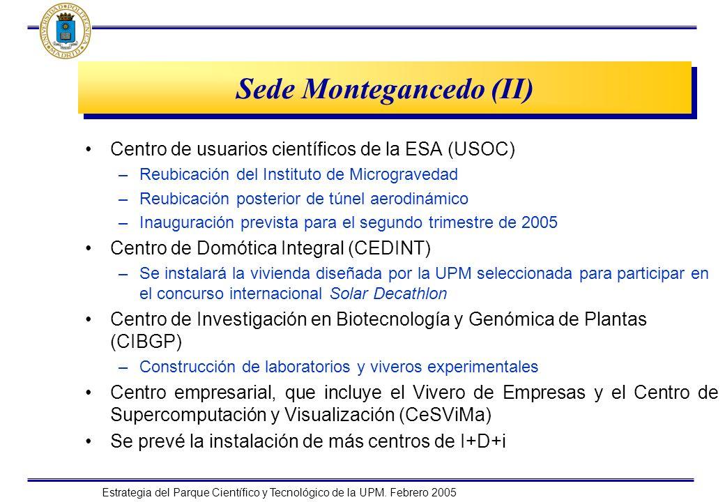 Estrategia del Parque Científico y Tecnológico de la UPM. Febrero 2005 Sede Montegancedo (II) Centro de usuarios científicos de la ESA (USOC) –Reubica