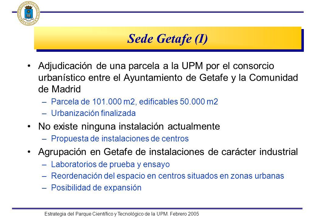 Estrategia del Parque Científico y Tecnológico de la UPM. Febrero 2005 Sede Getafe (I) Adjudicación de una parcela a la UPM por el consorcio urbanísti
